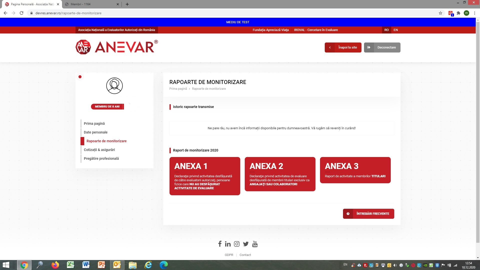 Instrucțiuni de completare a formularelor de raportare a activității de evaluare în anul 2020